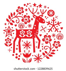 Christmas vector round design with reindeer, flowers, cute Scandinavian folk art pattern in red on white background - Merry Christmas decoration. Cute Scandinavian style retro greeting card