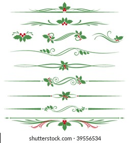 Christmas vector scroll design with holly leaves.