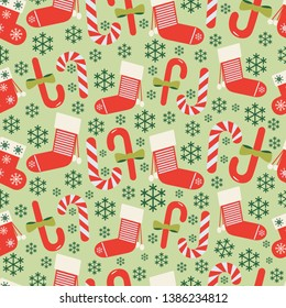 Christmas vector seamless pattern background. Perfect use for wallpaper, gift-wrap, fabric, scrap-booking and on many more surfaces on x-mas holidays.