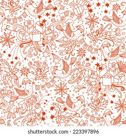 Christmas vector seamless pattern with birds and decorations