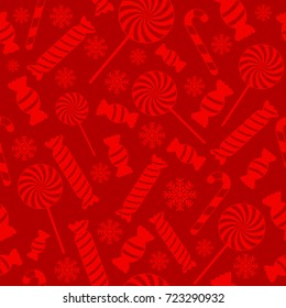 Christmas vector seamless pattern with candies and snowflakes on red background. New year vector design. Wrapping paper for Christmas gifts
