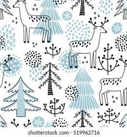 Christmas vector seamless pattern with cute deer and fir trees