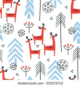Christmas vector seamless pattern with cute red deer and fir trees
