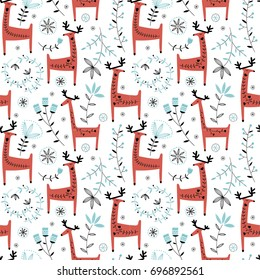 Christmas vector seamless pattern with cute red deer and flowers