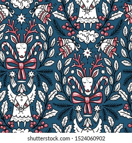 Christmas vector seamless pattern with deers and angels