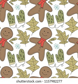 Christmas vector seamless pattern. Detailed holiday illustrations with gingerbreads and gloves on a white backgound.