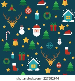 Christmas vector seamless pattern with flat elements on background