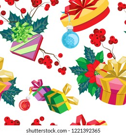 Christmas vector seamless pattern of gifts with Christmas plants compositions. White background