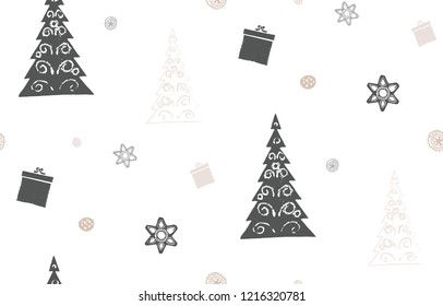 Christmas vector seamless pattern. Linocut style with light background