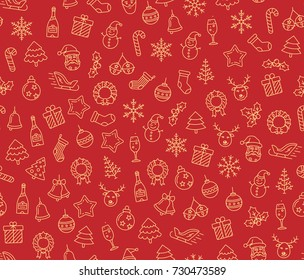Christmas vector seamless pattern. Merry Christmas and Happy New Year. Christmas symbols background. Vector seamless illustration
