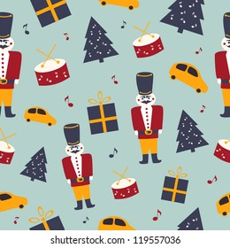 Christmas vector seamless pattern with vintage toys