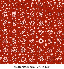 Christmas vector seamless pattern with xmas holiday outline icons. Xmas background and christmas seamless pattern illustration