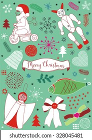 Christmas vector set with angel, devil, fish and Santa, colored background with a Christmas theme