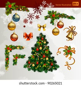 Christmas vector set of fir tree and evening balls,  new year's  corners  and festive bell