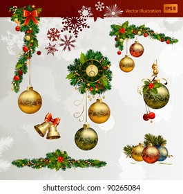 Christmas vector set of fir tree and evening balls, new year's  clock and festive bells
