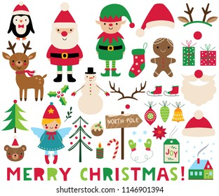 Christmas vector set (Santa, deer, elf, angel and decoration)