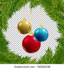 Christmas vector tree decorative frame with baubles on transparent background. Realistic pine branches illustration