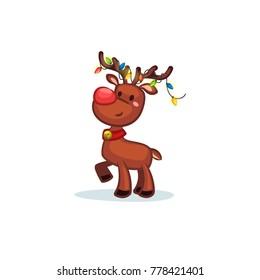Christmas Vectors - Reindeer Wearing Lights