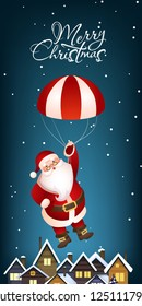 Christmas vertical banner design. Cute Santa Claus flying with parachute over snow covered rooftops. Illustration can be used for greeting cards, flyers, posters