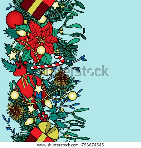 christmas vertical seamless border colorful new year wallpaper on blue background for greeting cards