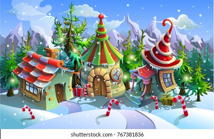 Christmas village of Santa Claus. Fairy houses of elves. Vector illustration.
