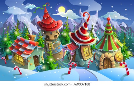 Christmas village of Santa Claus. Fairy houses of elves. Vector illustration. Panorama