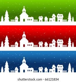 Christmas village - white silhouette