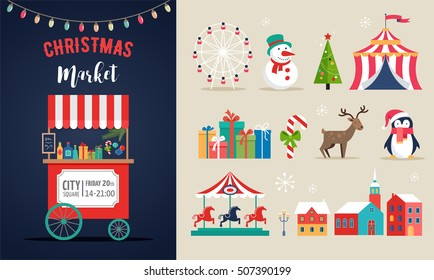 Christmas village, winter town, Christmas market, Xmas fair, Christmas poster. Merry Christmas background and icons set