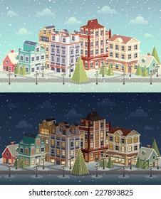 Christmas vintage cityscape and snowfall. Vector illustration.