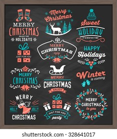 Christmas vintage design elements, logos, badges, labels, icons, decoration and objects set.