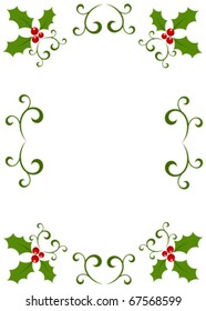Christmas vintage frame made of holly berry. Vector illustration