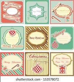 Christmas vintage label set, vector illustration