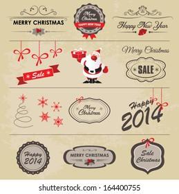Christmas vintage labels, ribbon and decorative elements