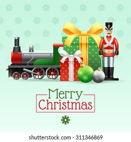 Christmas vintage realistic toys set with boxes toy soldier train and snowflakes vector illustration