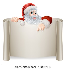 Christmas Vintage Santa Sign with a retro vintage style Santa pointing down at a scroll poster sign
