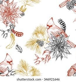 Christmas vintage seamless background with poinsettia, feathers and bird red cardinal. Botanical vector illustration