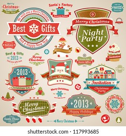 Christmas vintage set - labels, ribbons and other decorative elements. Vector illustration.