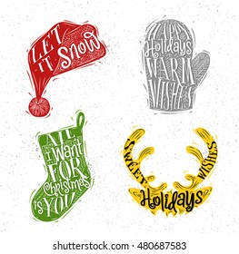Christmas vintage silhouettes Santa hat, mitten, deer, sock with greeting lettering let it snow, happy holidays, warm wishes, sweet holidays wishes drawing with color