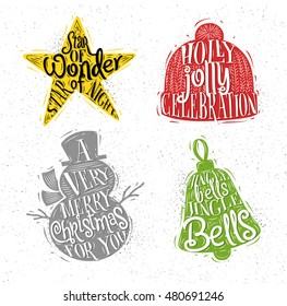 Christmas vintage silhouettes star, snowman, bell, winter hat with greeting lettering holly jolly celebration, a very merry christmas for you, jingle bells jingle bells
