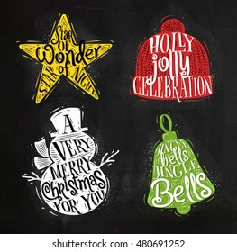 Christmas vintage silhouettes star, snowman, bell, winter hat with greeting lettering holly jolly celebration, drawing with color chalk on chalkboard