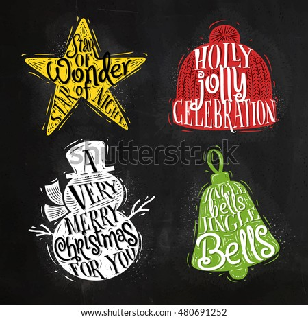 Christmas Vintage Silhouettes Star Snowman Bell Stock Vector