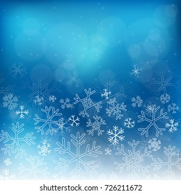 Christmas vintage snowflakes background, seamless pattern in blue. Vector illustration.