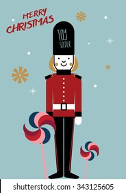 Christmas vintage toy soldier/ Illustration of a toy soldier/ Christmas poster or invite/ wrapping paper design/ textile pattern/