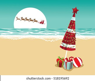 Christmas in a warm climate background. Santa Claus delivers gifts over a Beach umbrella with Christmas lights and Christmas gifts. EPS 10 vector.