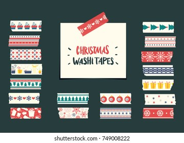Christmas washi tapes collection. Vector elements for winter cute design.