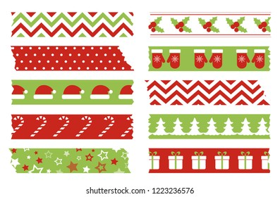Christmas washi tapes set. Vector template of adhesive tape