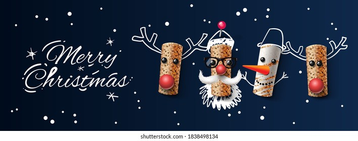 Christmas web banner, wine cork Christmas characters, vector illustration.