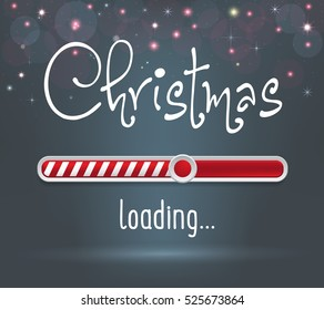 Christmas web loading red and white bar on dark gray background with sparkles and stars. Greeting card, web, brochure or poster template. Illustration.