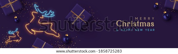 Christmas website header or banner, holiday poster. Xmas Background realistic gift box, bauble ball, glitter gold confetti, deer symbol neon light effect. Horizontal composition. Vector illustration