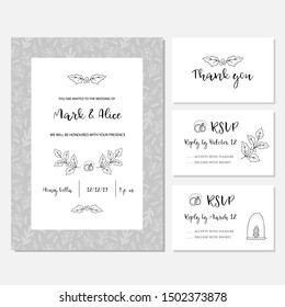 Christmas wedding invitation or card with floral background. Greeting postcard hand drawn style. Vector illustration